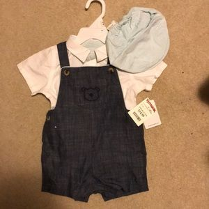 Chambray overalls with teal striped hat